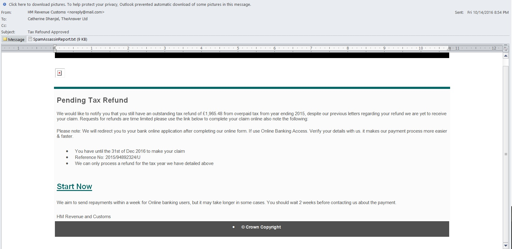 example HMRC scam email