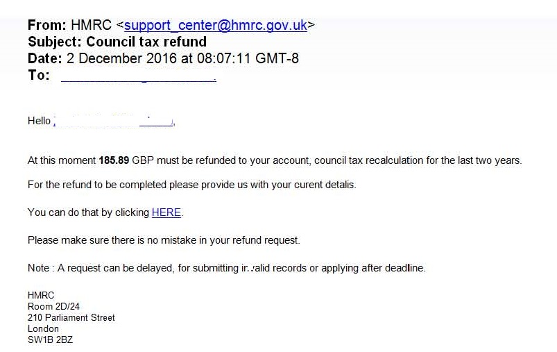 HMRC council tax scam