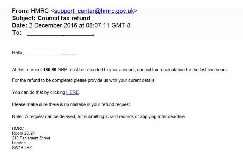 HMRC council tax scam