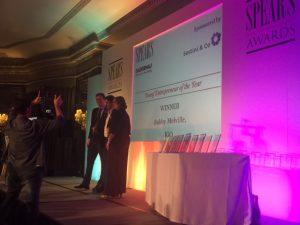 Sestini & Co presenting the award to Bobby Melville of IGO Adventures